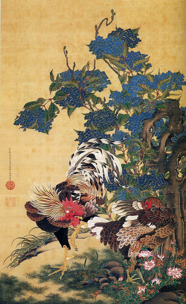Itō Jakuchū - Gallo y gallina con hortensias