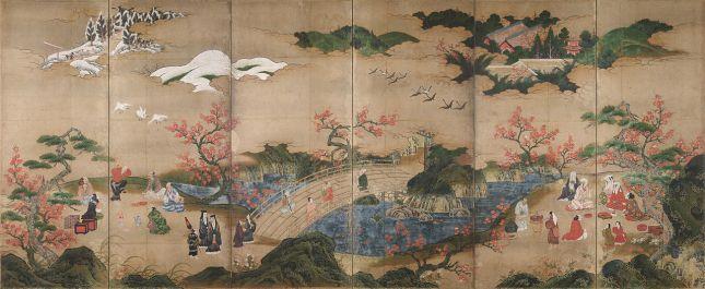 Kanō Hideyori - Espectadores del arce