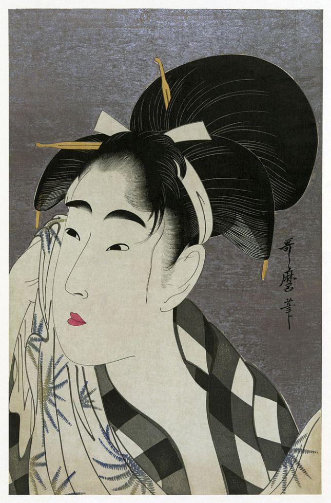 Kitagawa Utamaro - Mujer secándose el sudor