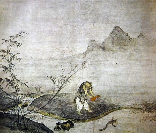 Taikō Josetsu - Hombre cogiendo pez gato