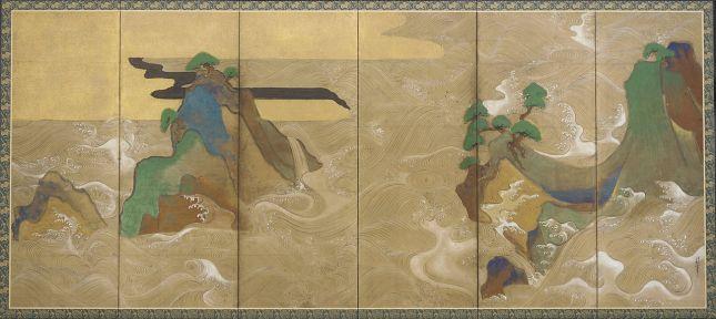 Tawaraya Sōtatsu - Olas en Matsushima