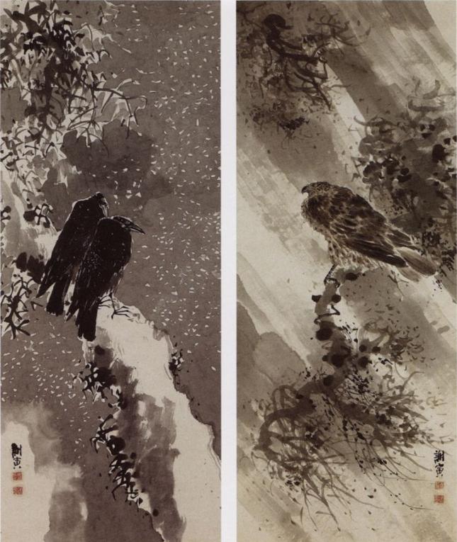 Yosa Buson - Halcón negro y dos cuervos