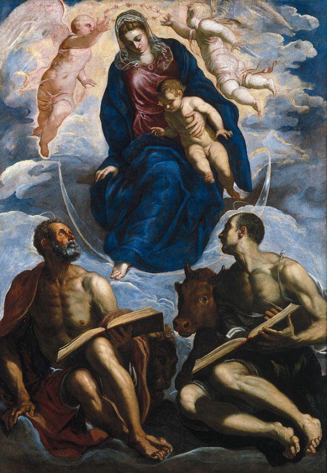 La Virgen con el Niño, San Marcos y San Lucas