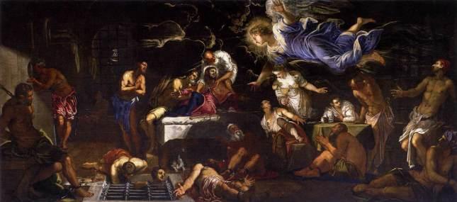 San Roque en la cárcel visitado por el ángel