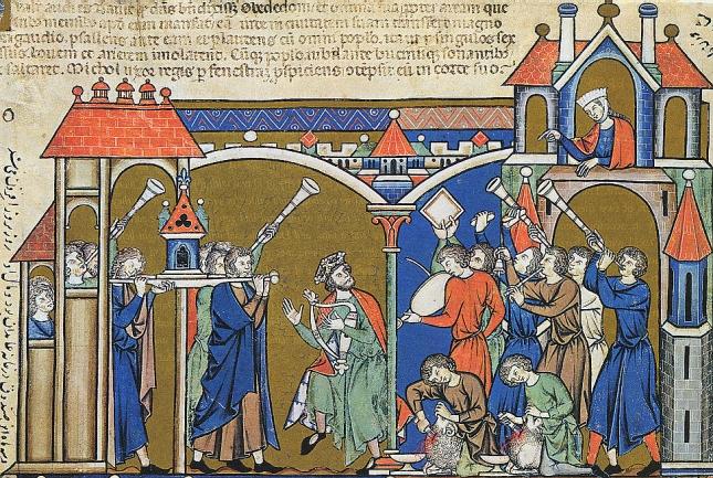 Biblia de Maciejowski - David llevando el Arca a Jerusalén