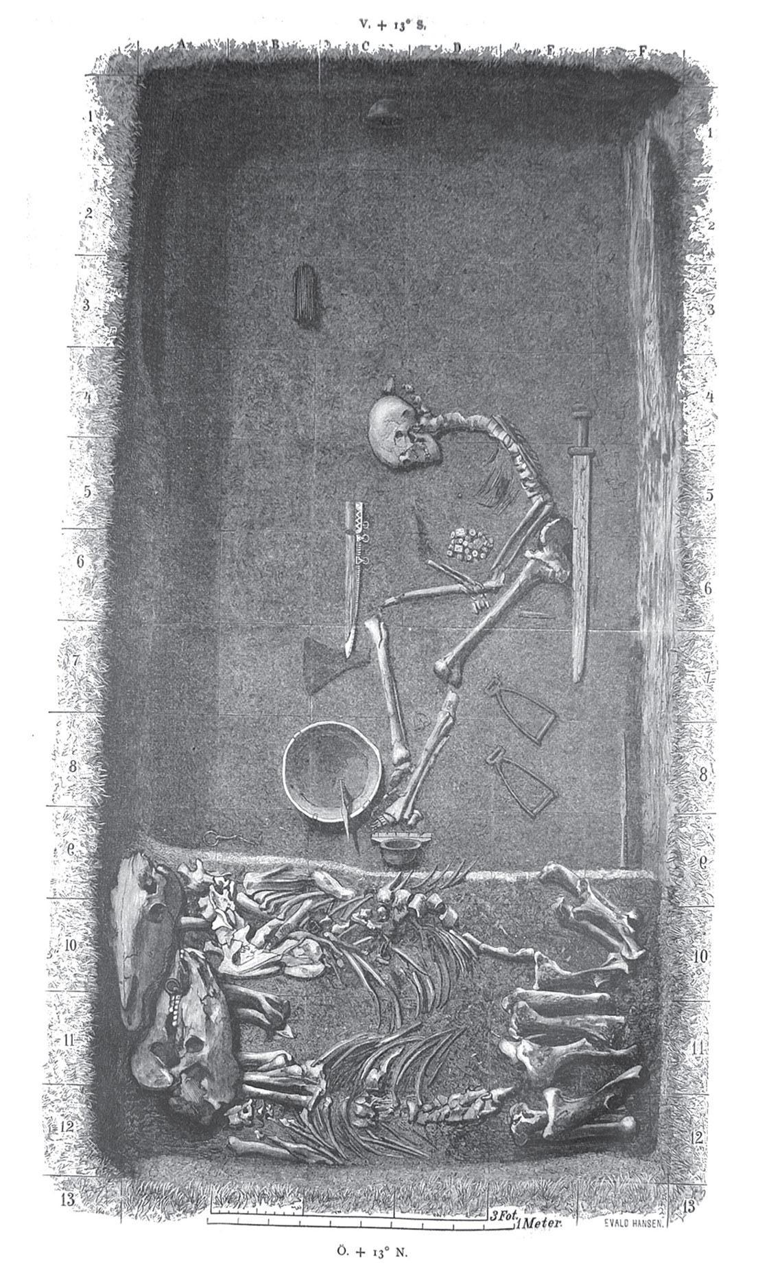 Dibujo de la tumba de la guerrera de Birka