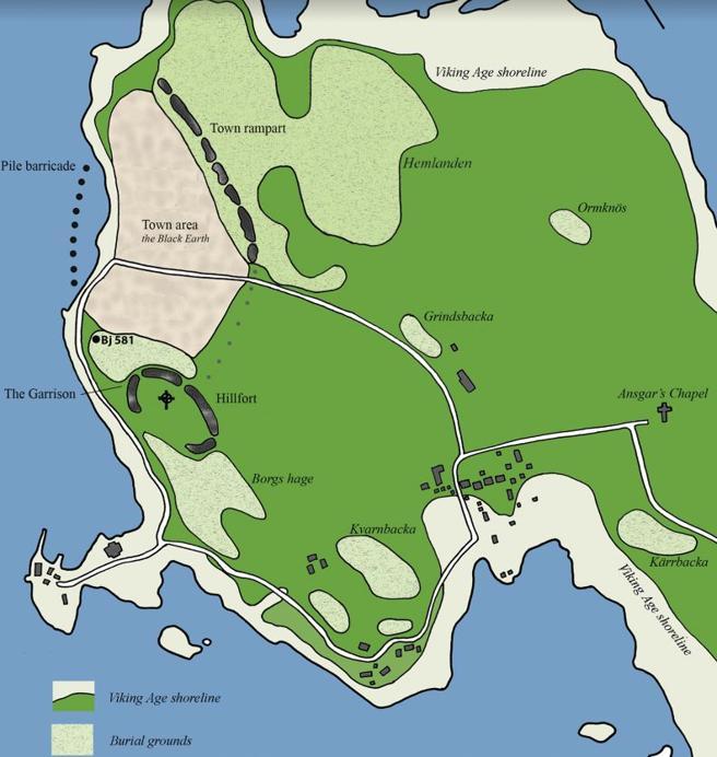 Mapa del asentamiento de Birka