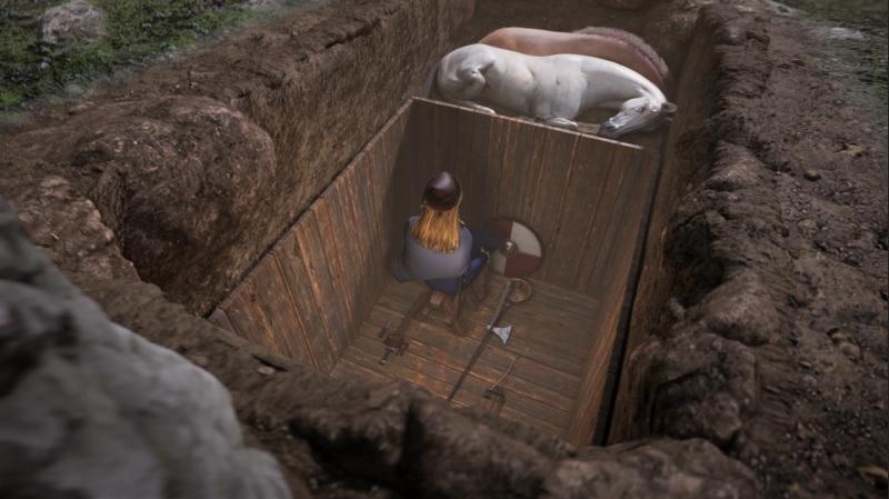 Moderna reconstrucción de la tumba de la guerrera de Birka